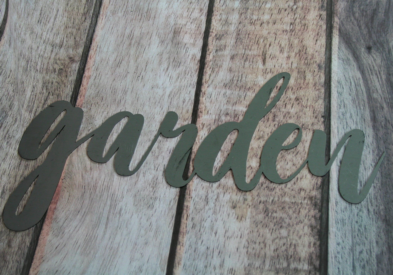 garden script, garden metal sign, metal word art, steel word