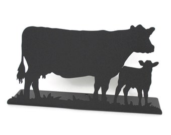 """Magnetic Steel Metal Standing Cow and Calf Sign -- 11.5"""" wide"""