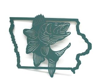Iowa Walleye Fishing Sign, Outdoorsman Fisherman Metal Sign