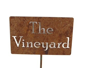 The Vineyard Metal Garden Stake Sign, Small to XL