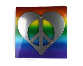 lgbtq+, gay PRIDE sign, gay pride month, Rainbow peace sign, Autism speaks, Autism awareness, rainbow pride decor