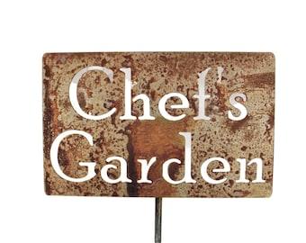 Chef's Garden Metal Garden Stake Sign, Small to XL