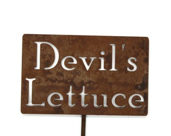 Devil's Lettuce Funny Metal Garden Stake Sign, Small to XL