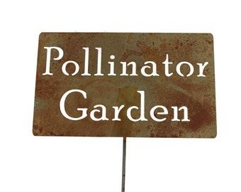Pollinator Garden Metal Garden Stake Sign, Small to XL
