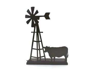 """Metal Windmill and Cow Stand 14.2"""" tall Powder Coated"""