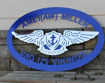 Custom Aviation Service Sign, Ships FREE in the US! Navy Retirement gift, Navy sign, Navy air warfare custom sign, EAWS sign