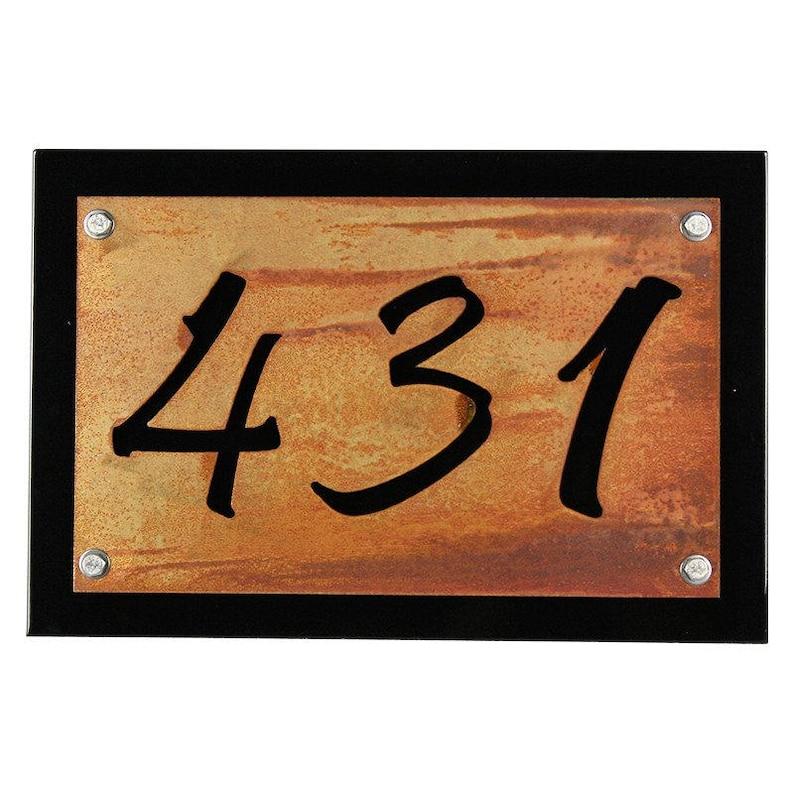 2c464d9b16d Black Rustic Metal Address Number Plaque House Number Sign