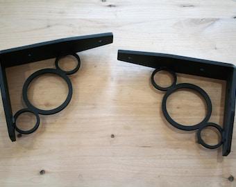 Super Duty Decorative Shelf Bracket, black metal bracket, circle pattern shelf bracket, shelf support, steel bracket, mantle bracket