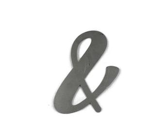 and & symbol ampersand script, and metal sign, DIY metal word art