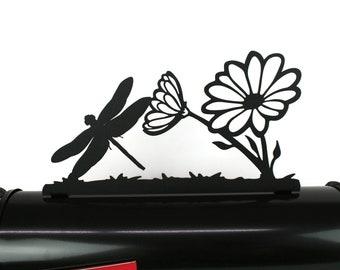 Garden Metal Mailbox Topper, Metal Flower Mailbox Top, Dragonfly Mailbox Top, garden dragonfly, flowers and dragonflies, garden flower