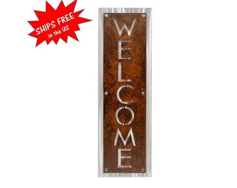 Vertical Welcome Sign, Rustic Layered Metal WELCOME sign, Two-Tone Welcome Sign, Outdoor Welcome sign, Modern Welcome, Welcome to our home