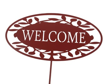 Outdoor Welcome Sign, Entryway Welcome Sign, Rustic Metal Welcome Garden Stake, Cottage chic welcome, Garden Marker, Rusty Garden Art