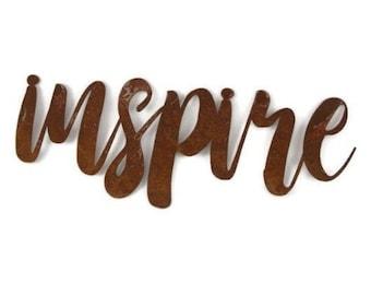 inspire script, inspire metal sign, metal word art, inspirational word art, steel script cursive font, DIY inspire sign, teaching decor