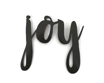joy script, joy metal sign, religious wall decor, metal word art, steel script cursive font, DIY joyful sign, joy love peace inspirational