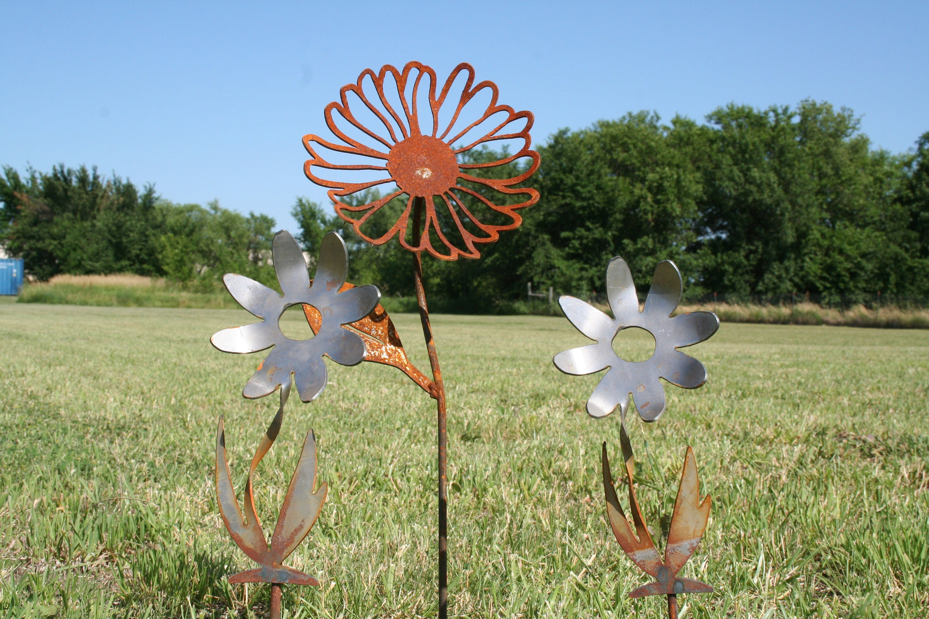 Ordinaire Garden Stake Set, Gardener Gift Set, Metal Flower, Set Of Flowers, Daisy  Stake, Farm And Garden, Landscape Set, Mixed Garden Stakes