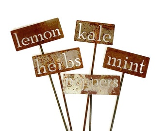Classic Metal Garden Markers H through P, herb marker, vegetable marker, garden label, markers for plants, plant marker, herb signs