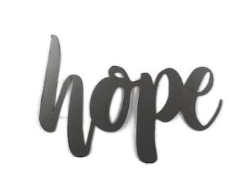 hope script, hope metal sign, metal word art, inspirational sign, faith hope love, hopeful, hope wall decor, diy hope sign, there is hope