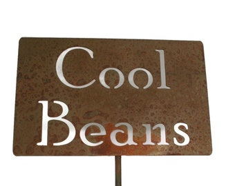 Cool Beans Metal Garden Stake Sign, Small to XL