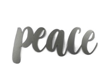peace script, peace metal sign, metal word art, inspirational sign, peace symbol, diy peace sign, peace word art wall decor, cursive peace