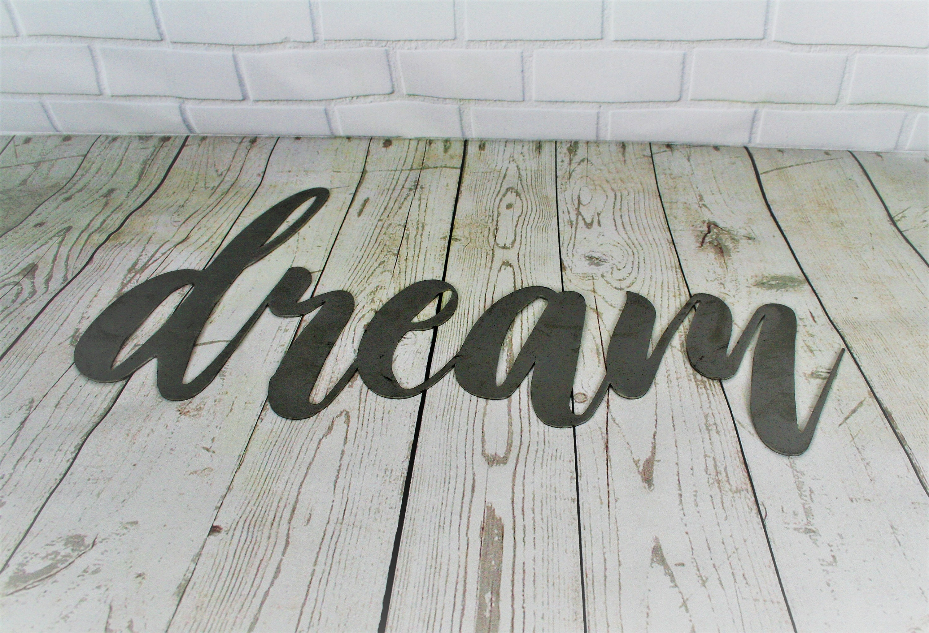Dream Script Metal Sign Word Art New Baby Nursery Wall Steel Cursive Font DIY Dreamers Inspirational