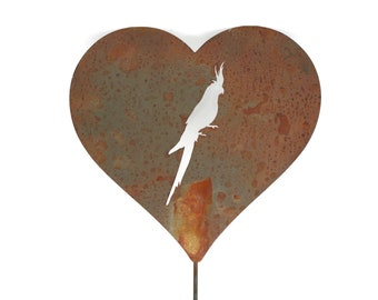 Cockatiel Large or Medium Heart Garden Stake 23 to 28 Inches Tall