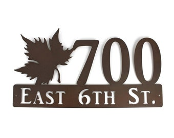 Maple Leaf Tree Outdoor Style Metal House Number Address Name Sign 19x10 Inches