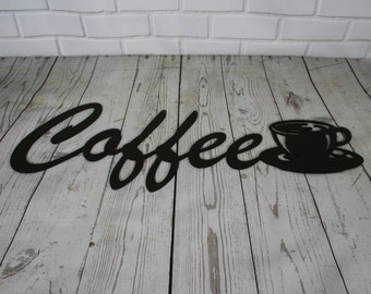 Coffee cup bare metal paint project, DIY gift idea, kitchen coffee shop sign decor, metal word art, coffee cup sign, bare steel sign, cucina