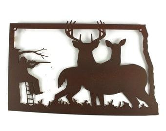 North Dakota Deer Hunting Sign, Deer Hunter Sign, Whitetail Deer Hunting Decor