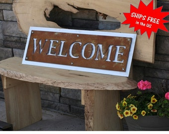 Metal Welcome Sign, Rustic WELCOME Sign, Two-Tone Welcome Sign, Outdoor Welcome sign, Modern Welcome, entryway welcome sign, cabin welcome