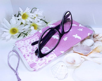ec1083d8efea Pink Glasses Case, Flying Birds Zip Top Eyeglass Case, Zipped Sunglasses  Case, Slim Glasses Case
