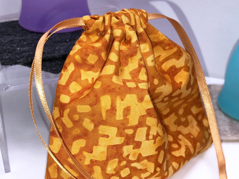Batik Orange Mooncup Bag Menstrual Cup Pouch and 2 FREE Cup Spots Small Drawstring Bag Lily Cup Bag