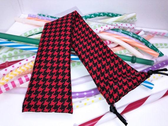 Pochette en paille réutilisable, zéro déchets réutilisables paille Case, rouge pied de poule chèque éco brosse à dents pochette