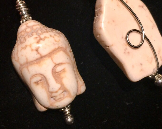 Howlite Buddha Necklace - Copper Wire Wrapped Pendant Handmade - Love Potion Magickal Perfumerie