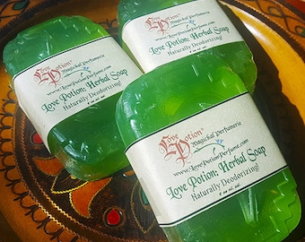 Love Potion: Naturally Deodorizing Herbal Soap - Vegan Glycerin, Handmade, Hemp, Bath and Body, Love Potion Magickal Perfumerie