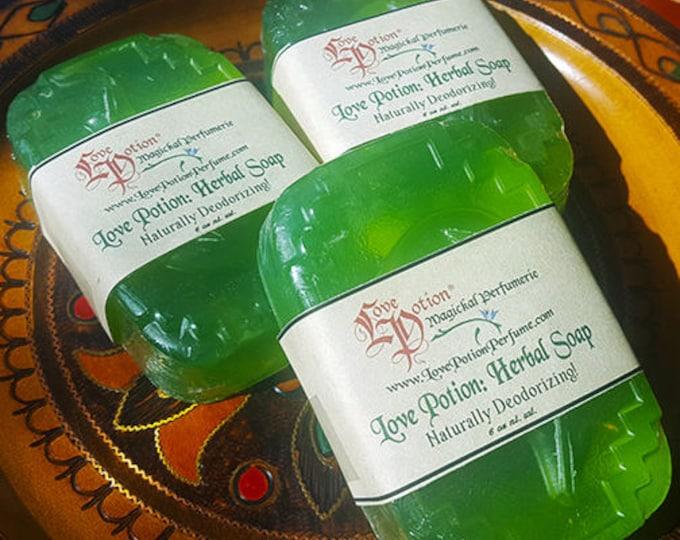 Love Potion: Naturally Deodorizing Herbal Soap - Vegan Glycerin, Handmade, Hemp, Bath and Body, Love Potion Magickal Perfumerie