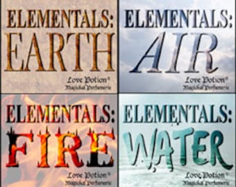 TRIAL COLLECTION: Elementals - Earth * Air * Fire * Water - Limited Edition Original Fragrances - Love Potion Magickal Perfumerie
