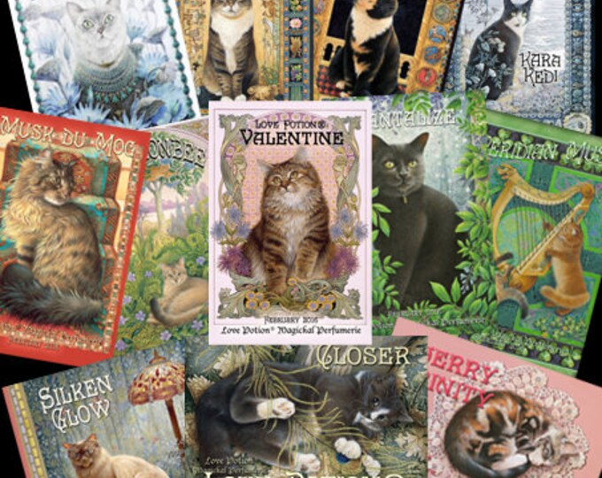 Love Potion® ~ Ivory Cats - Set of 12 Limited Edition Postcards - Love Potion® Magickal Perfumerie