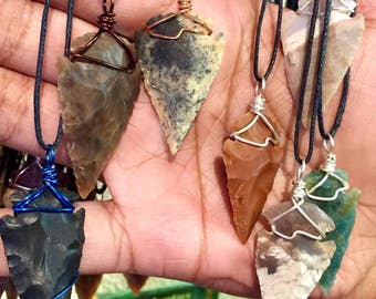 Flint Arrowhead Necklace - Copper Wire Wrapped Arrowhead Pendant Handmade - Love Potion Magickal Perfumerie