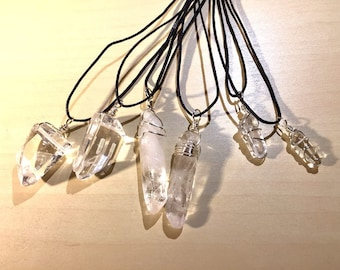 Quartz Crystal Necklace - Copper Wire Wrapped Quartz Pendant Handmade - Love Potion Magickal Perfumerie