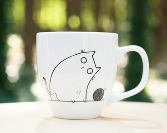 NEW Clumsy Cat Mug - hand decorated quirky cat cup with cat dish funny cute funky quirky cartoon wool kitten crazy cat lady cat pottery