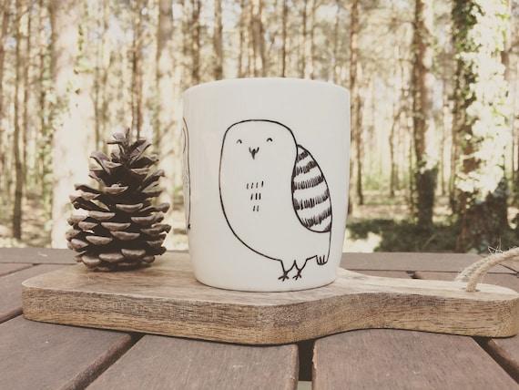 Eule Becher hand illustrierte schrulligen Vogel wilde Tier lustige süße Teller Tasse funky Wald Wald Herbst Geschenk Cartoon küchengeschenk