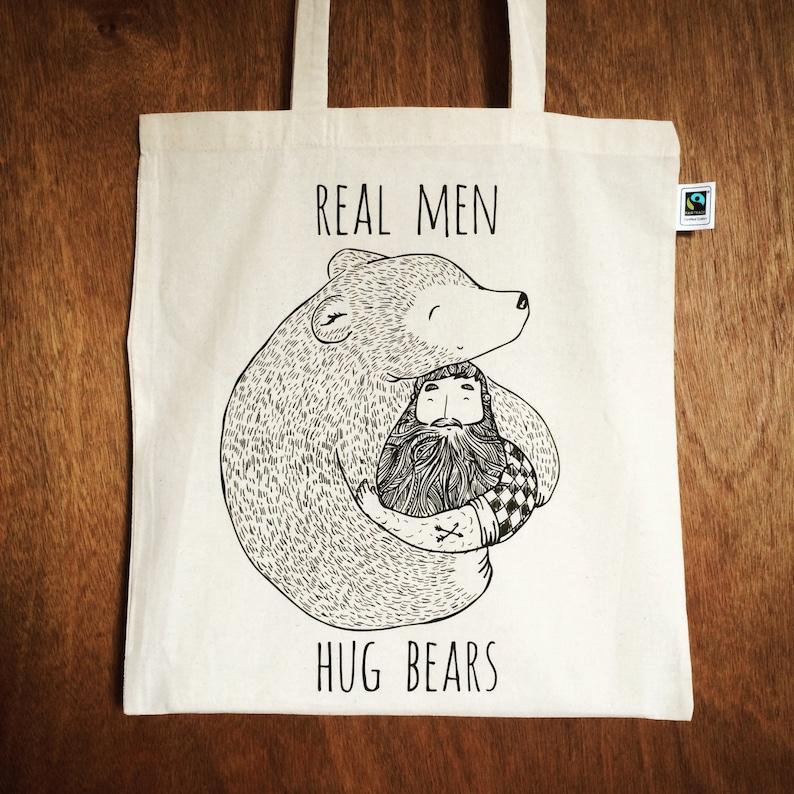 eaeff595 Bearded Man hugging a Bear tote bag eco cotton Beard   Etsy