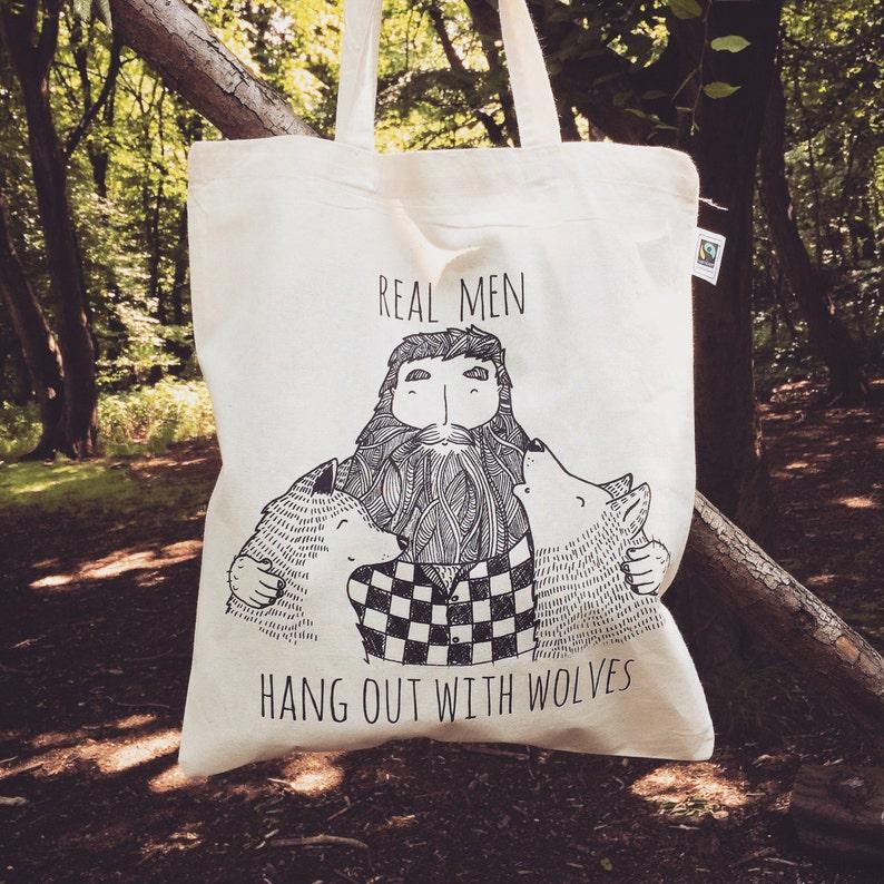 56bc1cbf Bearded Man & Wolves tote bag organic cotton Wolf Beard   Etsy