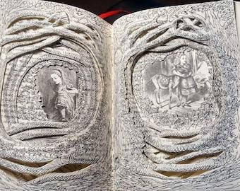 Alice in Wonderland - Through The Looking Glass  Book Sculpture