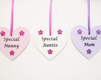 Mothers day gift, Mum gift, Mummy gift, Nanny gift, Auntie gift, Niece gift, Cousin gift, Daughter gift, Sister, wooden hanging heart plaque