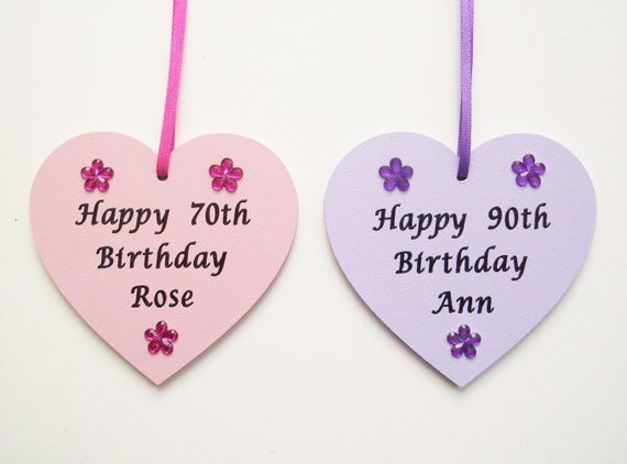Personalised Hanging White Wooden Heart Wall Plaque Sign 80th birthday present