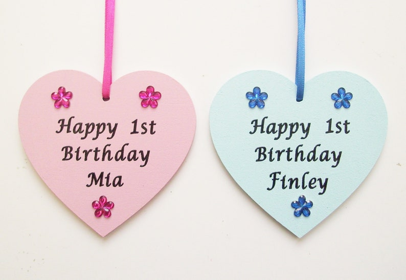 Babys 1st First Birthday Gift Personalised Wooden Heart