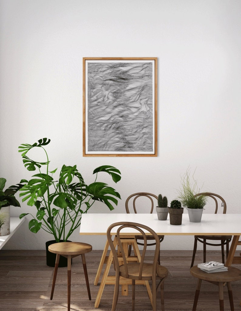 Large black and white abstract drawing minimal image 0