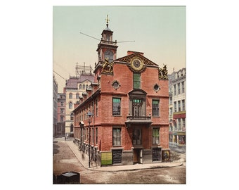 The Old State House in Boston - 1900 - Vintage Historical Print