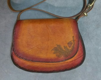 "Shoulder Bag Full Grain Leather Bag,Purse Handmade Titled""Autumn Leaves"" Vegetable Tanned Leather"